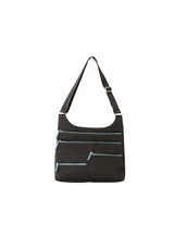 Teela - Medium Multi-Pocket Bag | Black & Azure