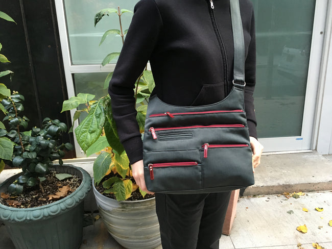 Teela - Medium Multi-Pocket Bag | Midnight Gray & Red