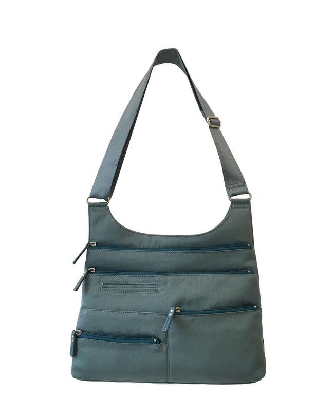 Teela - Medium Multi-Pocket Bag | Steel Blue & Azure