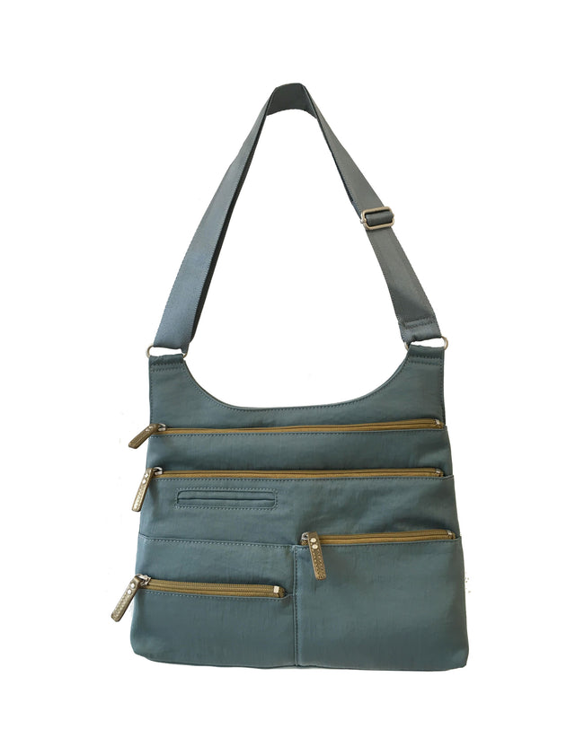 Teela - Medium Multi-Pocket Bag | Steel Blue & Ochre
