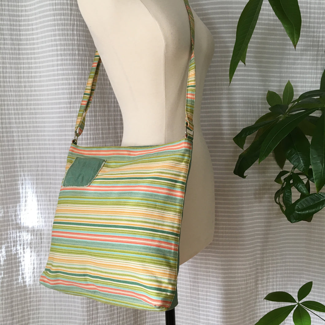 Premium Collection | Washed-Cotton Bag with Stripe x Solid Mix Body and Adjustable Strap | Multi-Color