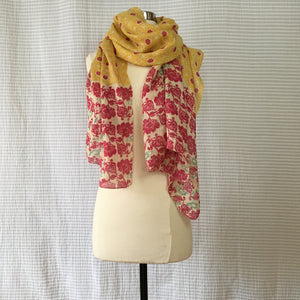 Arabesque Panel Scarf - Mustard x Berry