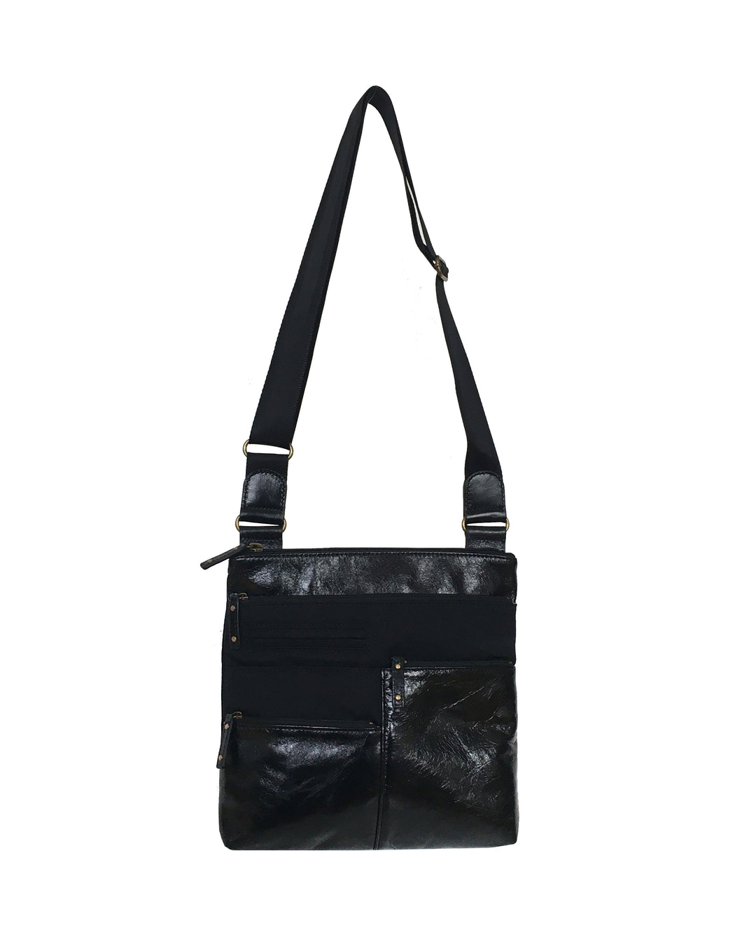 Highway Gina - Small Multi-Pocket Nylon x Leather | Black