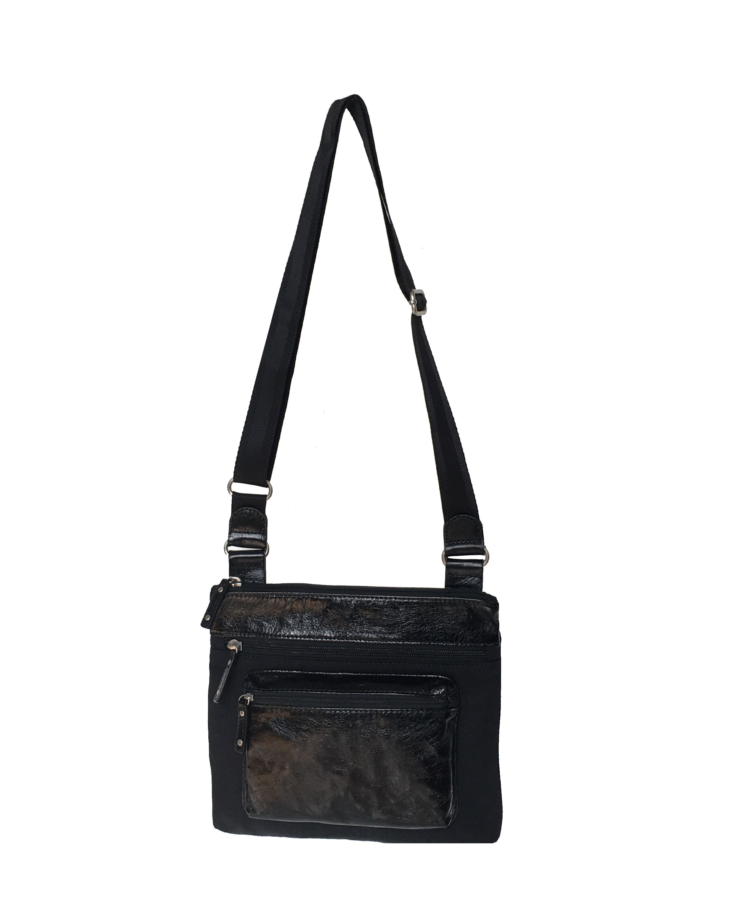 Highway Kiki - Mini Leather & Nylon Mix Bag | Black