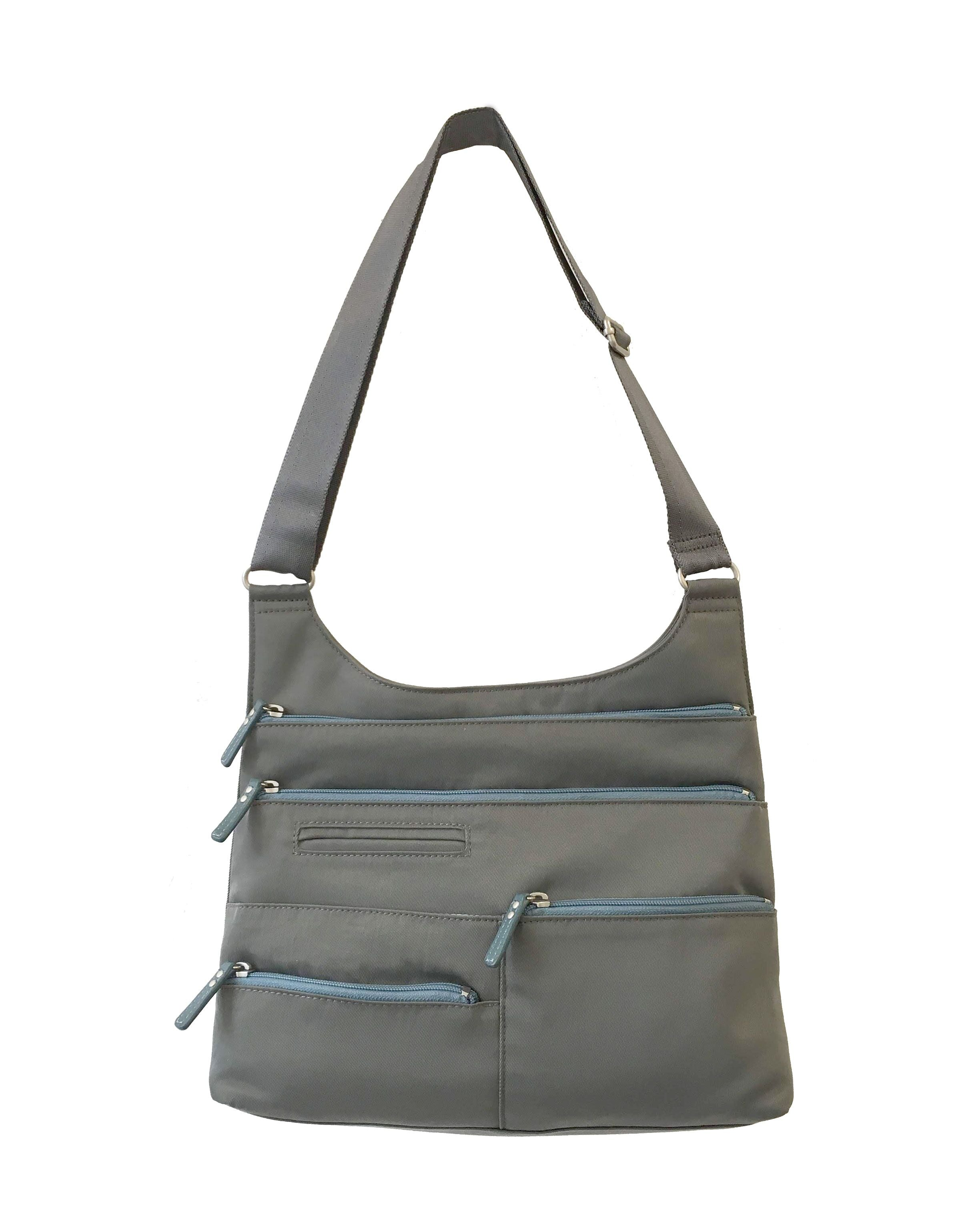Highway Teela - Medium Multi-Pocket Bag | Stone & Lt. Blue