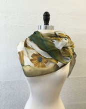 Ochre and Flower Scarf