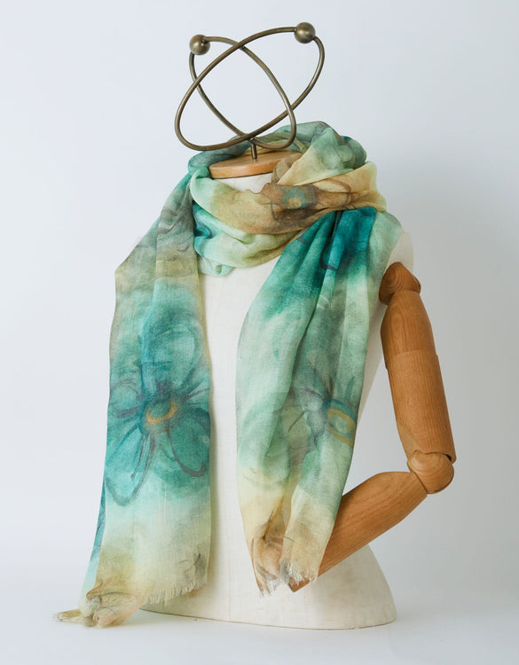 Earth and Large Flower Scarf