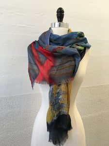 Highway Red and Ochre Abstract Scarf