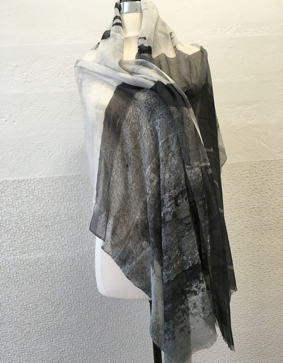 Black and White Abstract Scarf