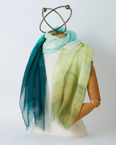 Highway Azure and Olive Border Scarf