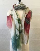 Pink and Gray Flower (L) Scarf