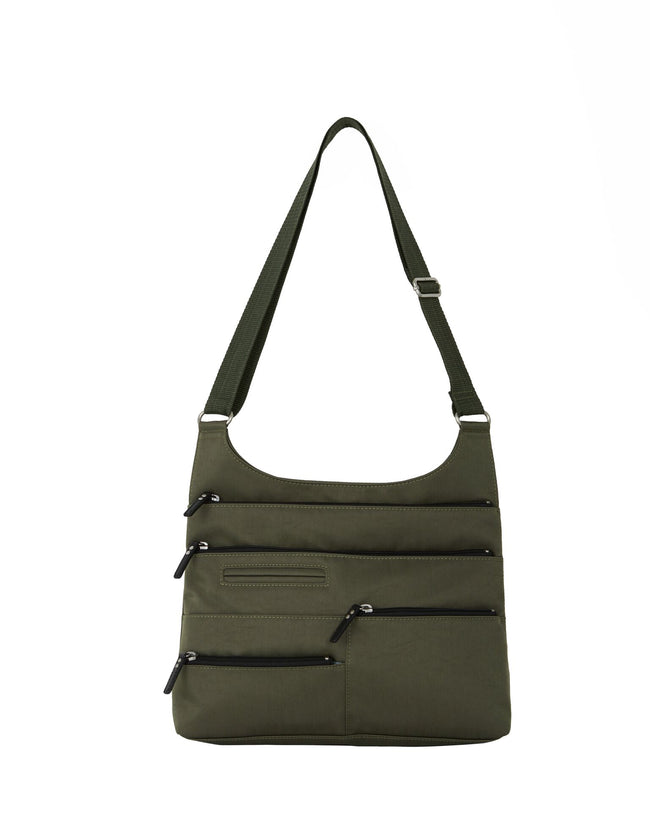 Teela - Medium Multi-Pocket Bag | Ivy Green & Black