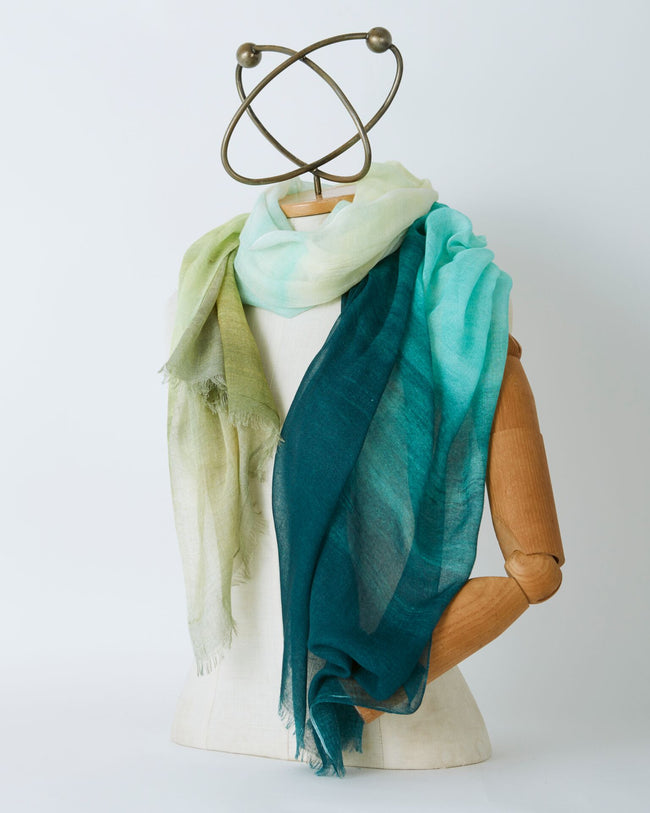 Azure and Olive Border Scarf