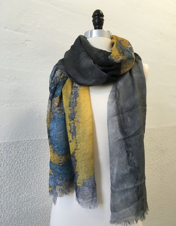 Ochre and Gray Abstract Scarf