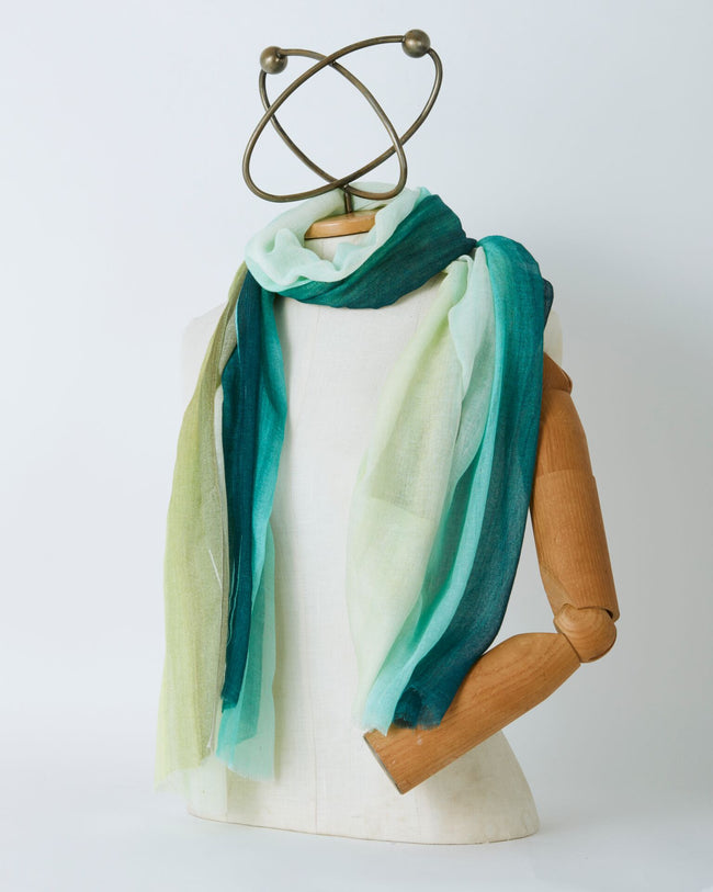 Azure and Olive Stripe Scarf