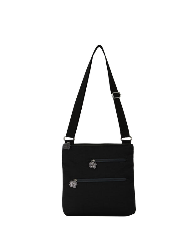 Erica - Flower Tabs Shoulder Bag | Black