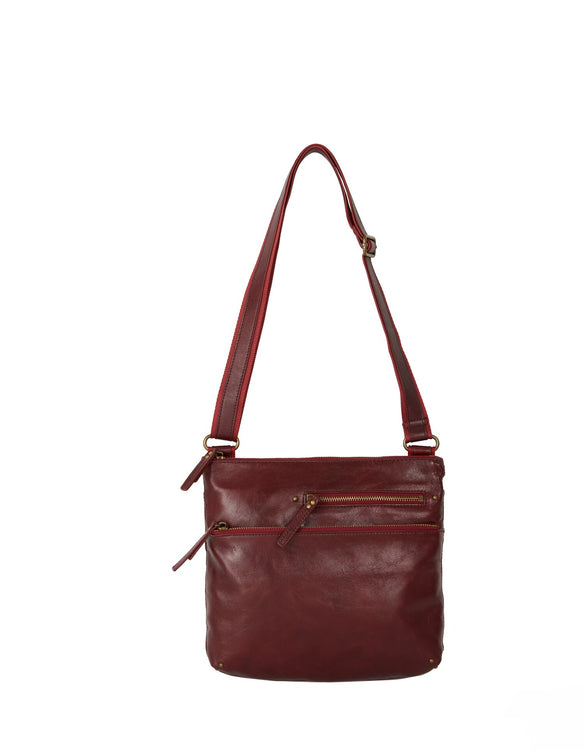 Lyla - Leather Shoulder Bag | Wine