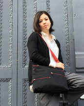 Lucy - Large Multi-Pocket | Black & Red
