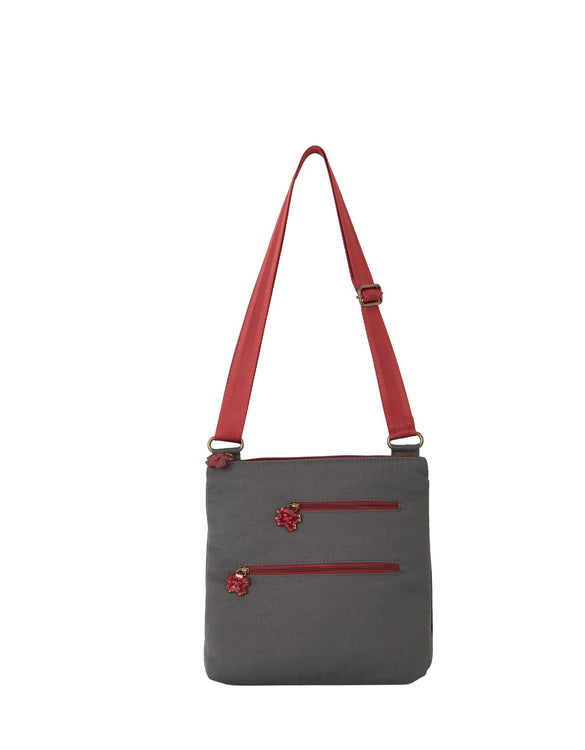 Erica - Flower Tabs Shoulder Bag | Pewter