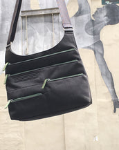 Teela - Medium Multi-Pocket Bag | Charcoal & Green