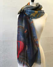 Red and Ochre Abstract Scarf