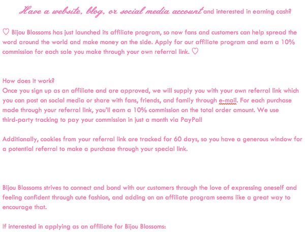 Bijou Blossoms Affiliate Program Information | 10% commission on all orders made through your special affiliate link!