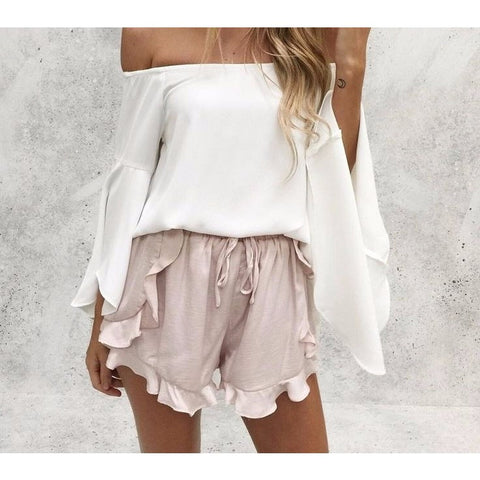 Ruffles high waist shorts women Sexy drawstring beach summer shorts Loose elastic waist streetwear shorts