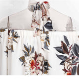 Floral print off shoulder chiffon blouse Women tops halter cool long sleeve female blouse shirt Sexy loose white blusas