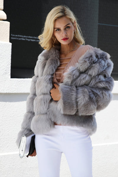 Abergine Gray Faux Fur Coat | Trendy Fashion Outerwear | Bijou Blossoms