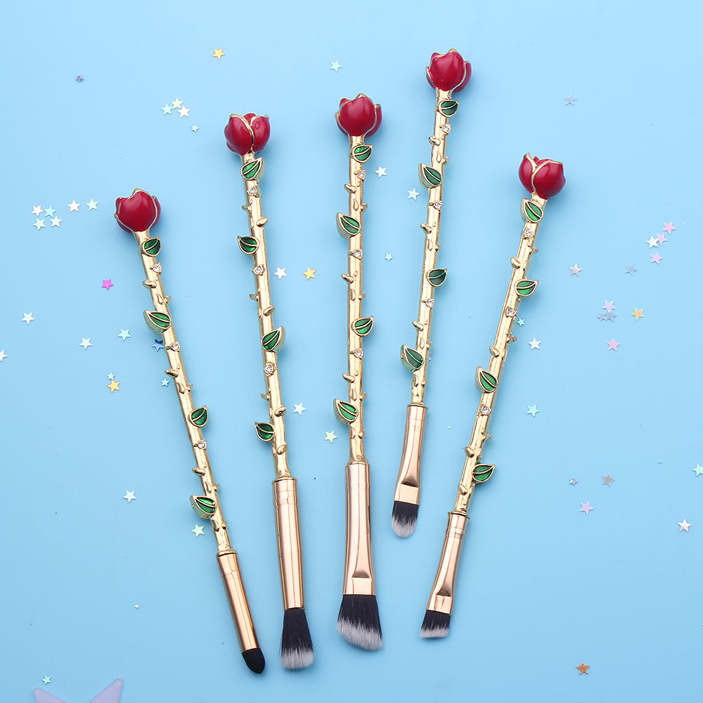 Eternal Rose Brush Set ❀ Full Gold, Makeup Tools - Bijou Blossoms