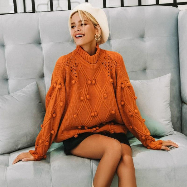 Pom-Pom Orange Turtleneck Sweater | Cute Bohemian Fashion Clothing | Bijou Blossoms