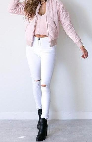 Chloe White Ripped Skinny Jeans | Chic Trendy Fashion Clothing | Bijou Blossoms