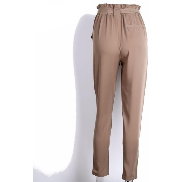 Denise Beige Ruffled Elastic Hem Trouser Pants | Bohemian Fashion Clothing Boutique | Bijou Blossoms
