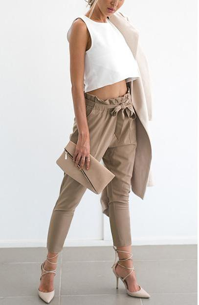 Denise Ruffled Elastic Hem Trouser Pants | Bohemian Fashion Clothing Boutique | Bijou Blossoms