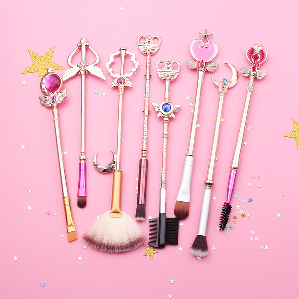 Shop kawaii fashion Sailor Moon Makeup Brush Set resembling Sailor Moon & Princess Serenity's arsenal of magical scepters and rods, perfect gift for any fan!