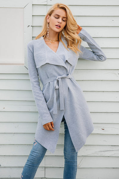 Laselle Gray Asymmetrical Cardigan Sweater | Bijou Blossoms | Cute Fashion Boutique