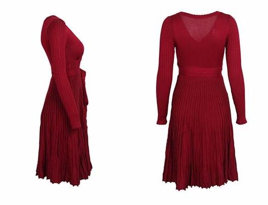 Nora Red Pleated Midi Dress | Buy Cute Trendy Fashion Clothing | Bijou Blossoms