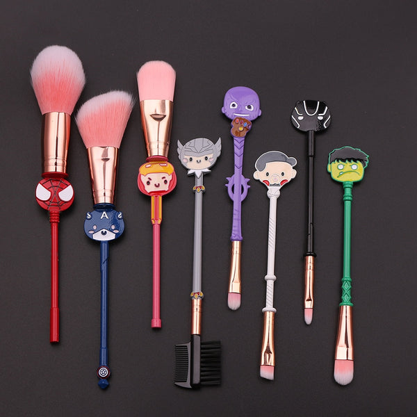 Avengers Brush Set - This fun makeup brush set features chibified adorable versions of the Avengers. Cutesy Spider-man, Captain America, Iron Man, Thor, Thanos, Doctor Strange, Black Panther, and the Incredible Hulk are here!