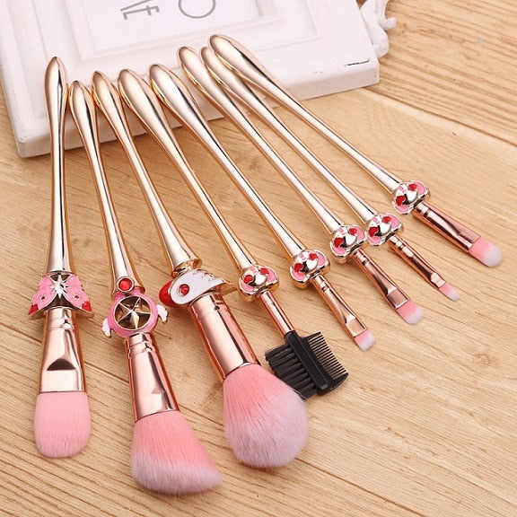 This 8 pcs makeup brush set features adorable designs from the Cardcaptor Sakura Clear Card Arc including her gorgeous magical girl wand, clow staff, and Kero designs!