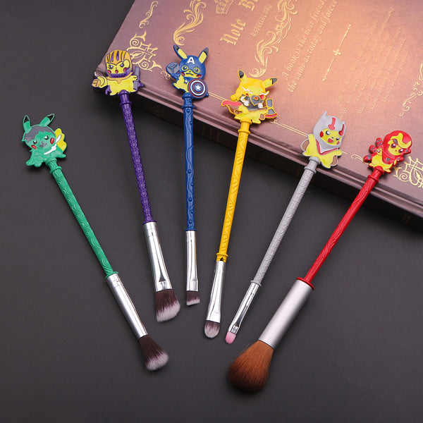 Pikachu's Avengers Brush Set - Pokemon's Pikachu is back and parodying the Marvel Avengers! This adorable brush set will make you smile every time you put on your makeup ♥