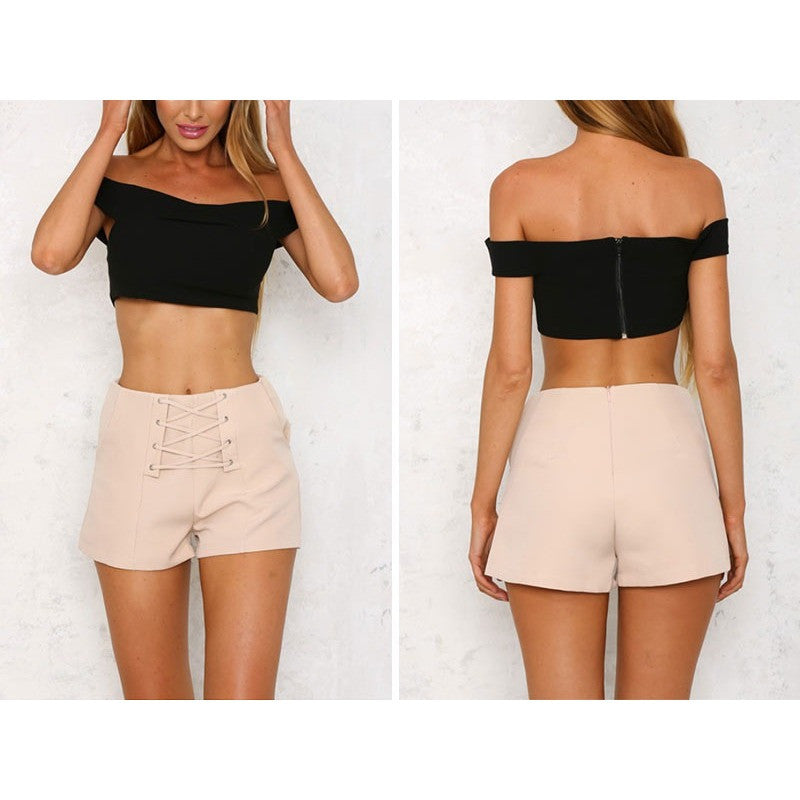 Cross lace up shorts women Sexy zipper high waist shorts Winter 2016 new style casual beach pocket shorts
