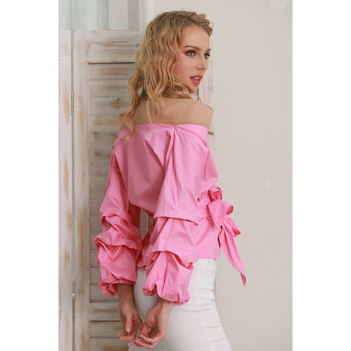 Pink Ruched Long Sleeve Wrap Blouse | Women's Clothing | Cute Fashion | Bijou Blossoms