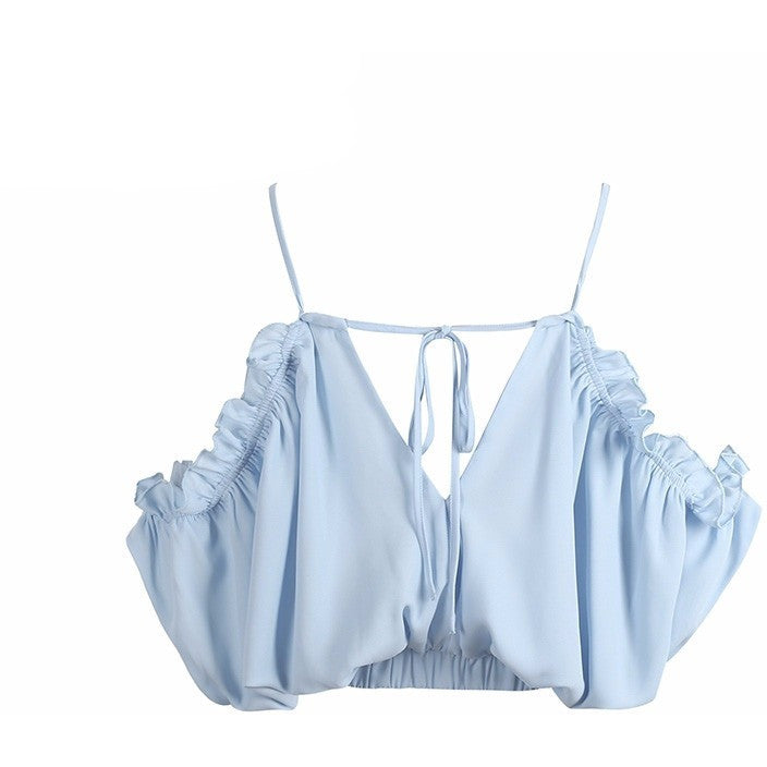 Lace up beach blouse shirt women tops Ruffle chiffon white blouse Elastic backless feminine blouse chemise femme blusas