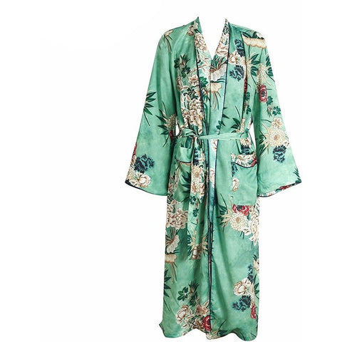 The beautiful Jade Kimono Robe is a long length, long sleeved kimono style robe with a floral pattern, and is easily adjustable with the front tie sash.