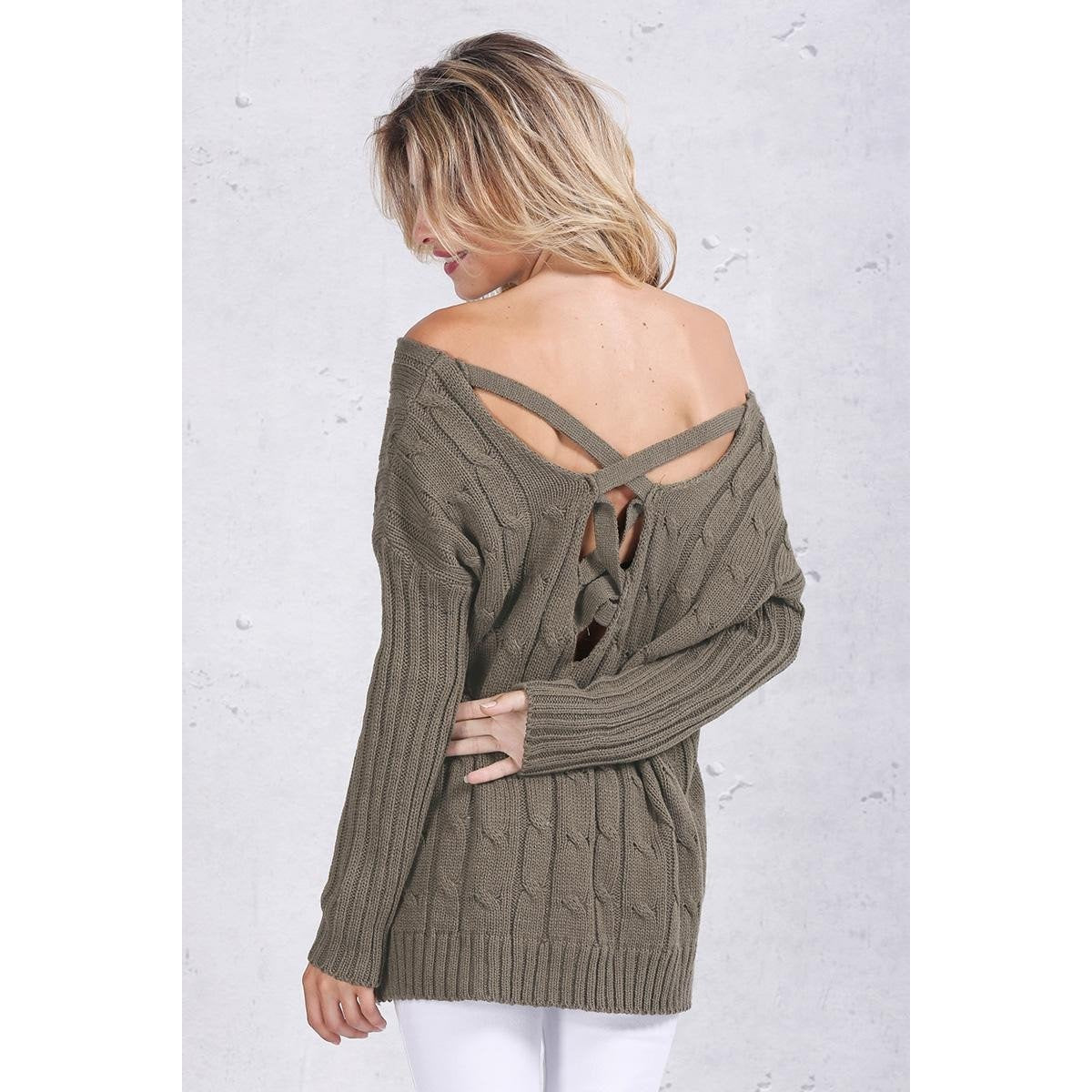 The Gabriella Knit Pullover is a one size fits all slouchy off shoulder lounge sweater with criss cross cutout design on the back. Available in olive green or white.