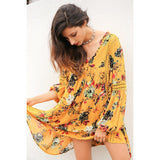 Boho print lace hollow out summer dress Women lantern sleeve loose short dress Vintage flower white dress vestidos
