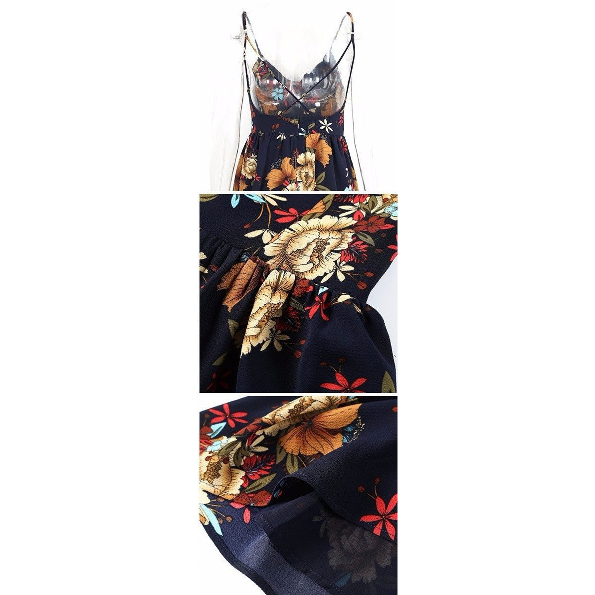 The Adeline Romper is a beautiful floral playsuit with spaghetti straps that cross in the back and a sweet sundress style design.