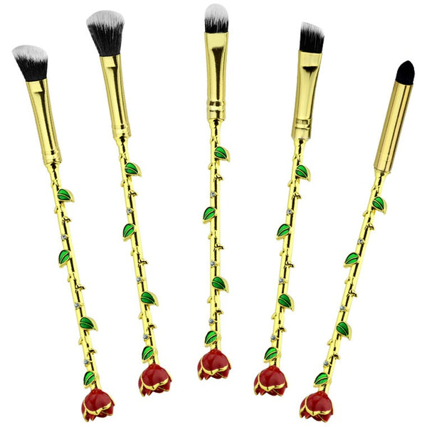 Beauty and the Beast Eternal Rose 5 pcs makeup brush set - Bijou Blossoms