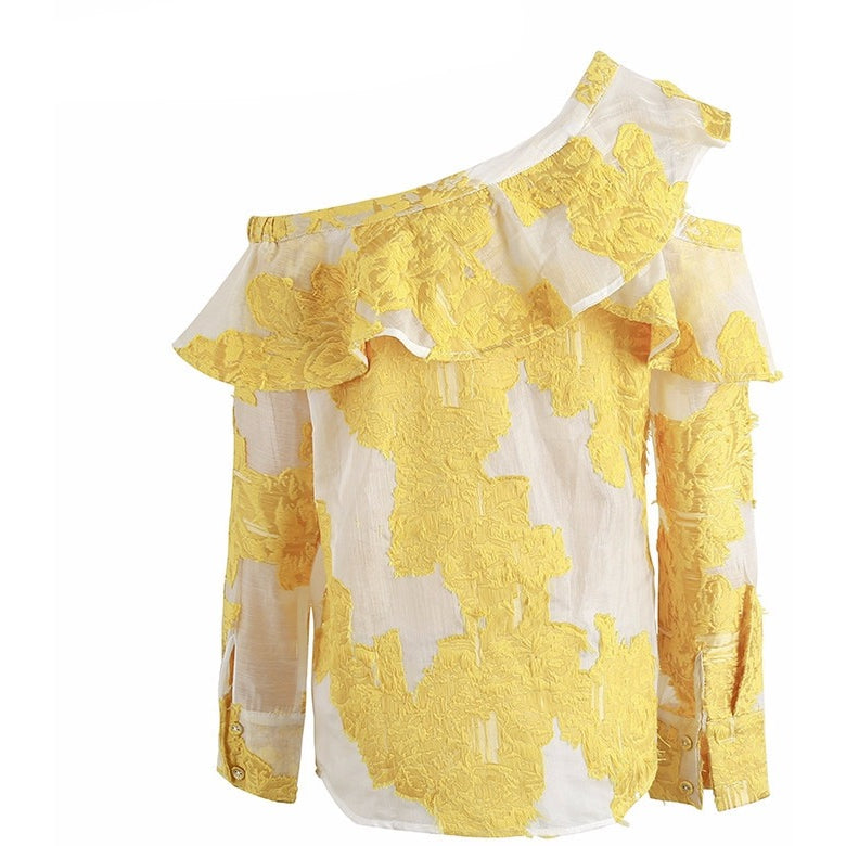 Heather asymmetrical ruffled yellow floral embroidered blouse | Bohemian Fashion Clothing Boutique | Bijou Blossoms