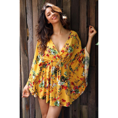 Yellow Batwing Floral Dress